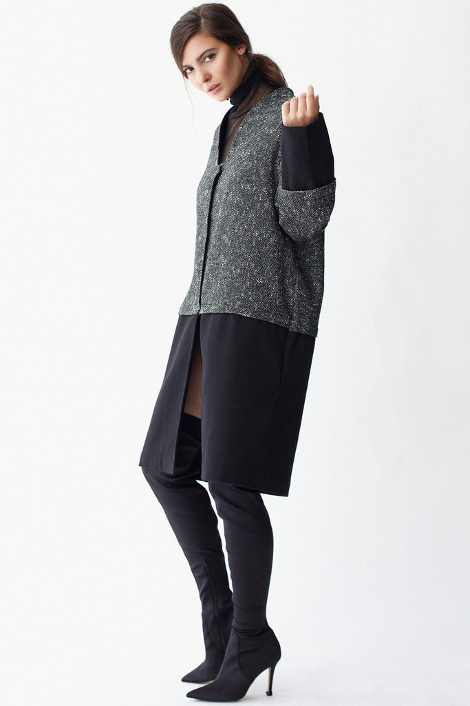 KAI & KLO grey and black wool coat.
