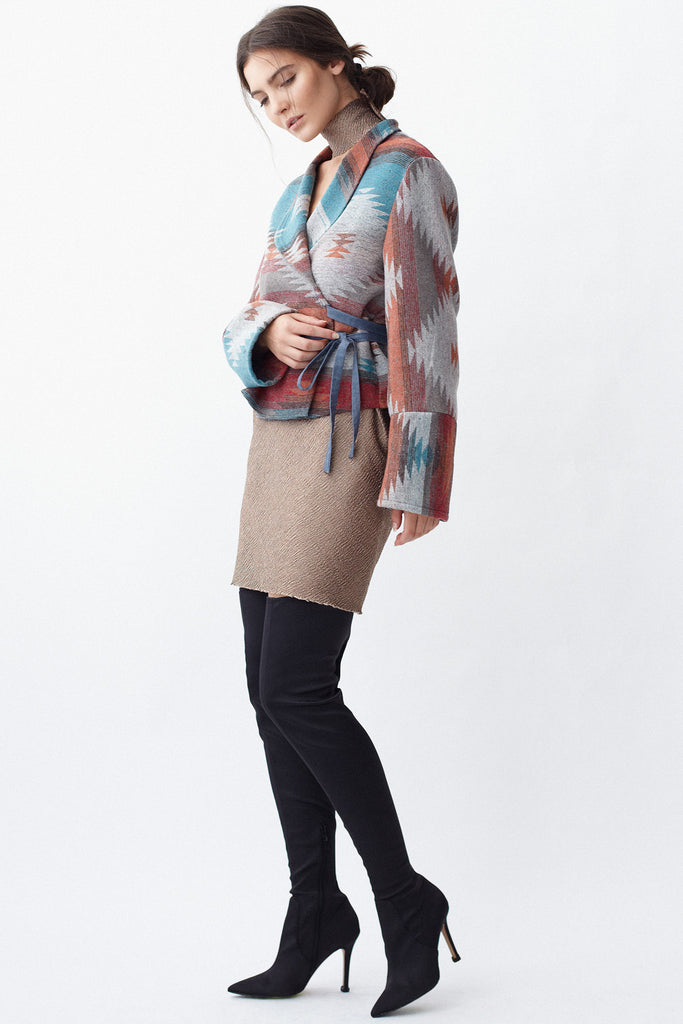 KAI & KLO multi-colour crop wrap jacket with shawl collar.