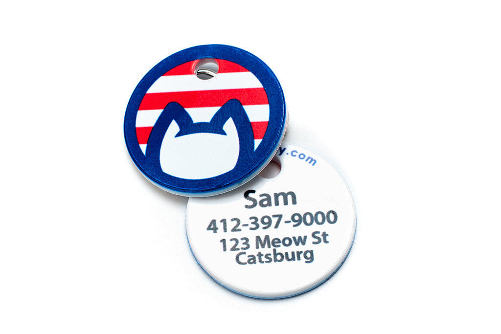 Americat cat identification tag front and back