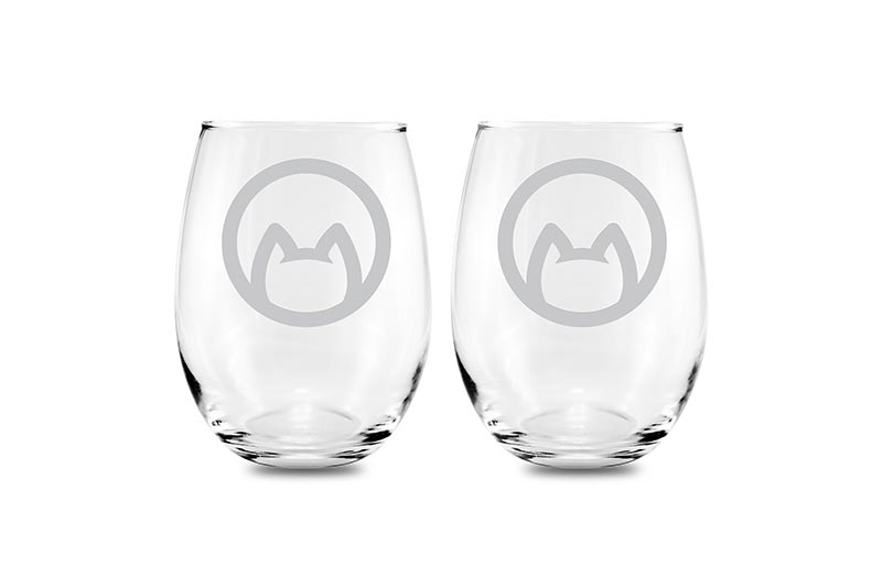 etched cat wine glasses Cat lover glass etched stemless wine glass