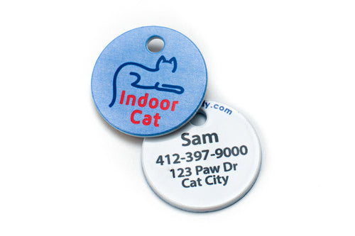 Americat indoor cat identification tag front and back