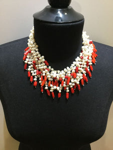 Fresh Water Pearl Necklace with Coral