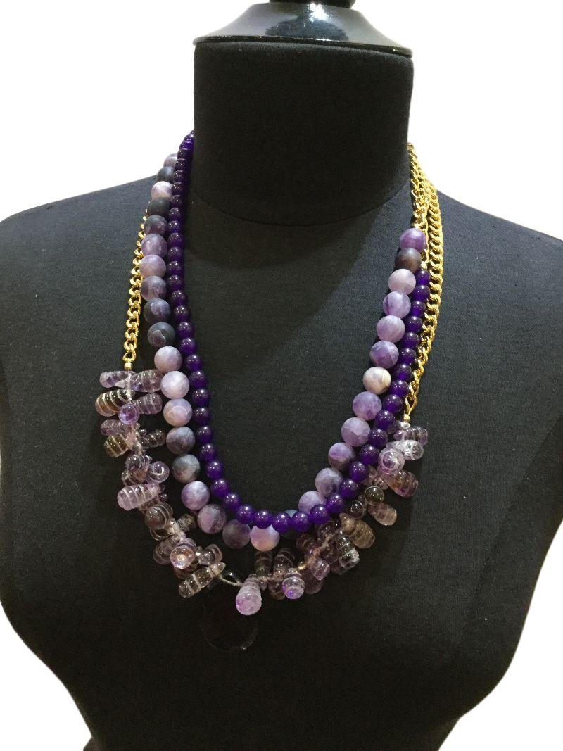 Beautiful Necklace with a Collage of Gemstones