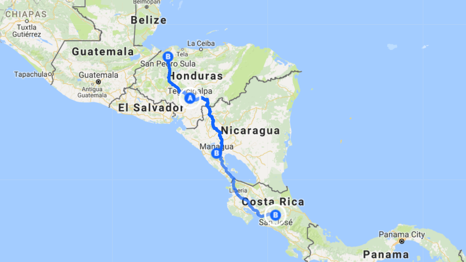Tegucigalpa Honduras International Domestic Shuttles Roam - San pedro sula map