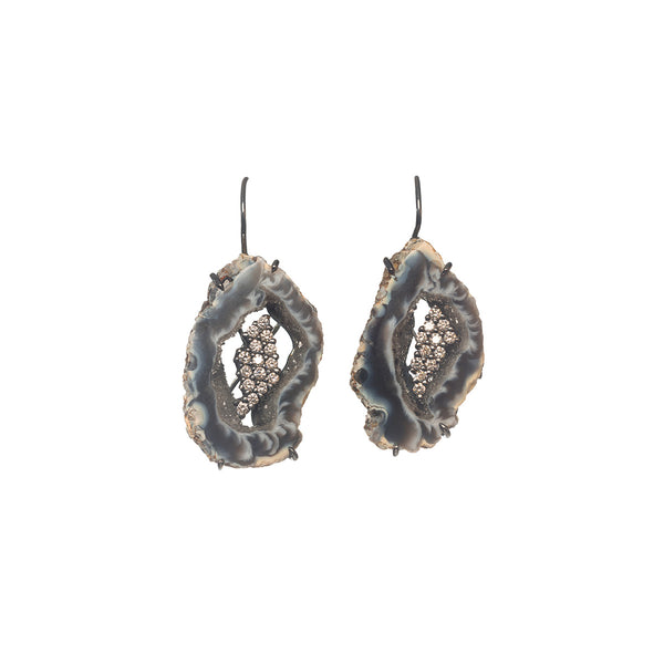 Black Geode Slice White Diamond Earrings