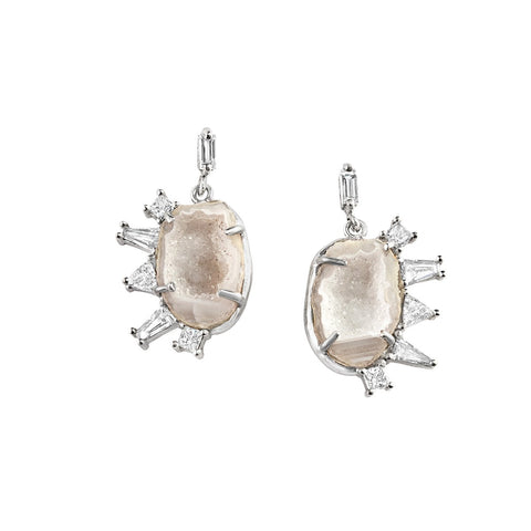 Meredith Young Jewelry Controlled Chaos Diamond Edged Geode Earrings