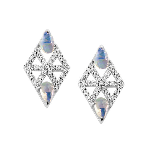 Meredith Young Jewelry Webb Diamond Earrings With Freeform Opals