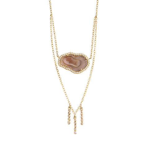 Nude Tiered Geode Necklace