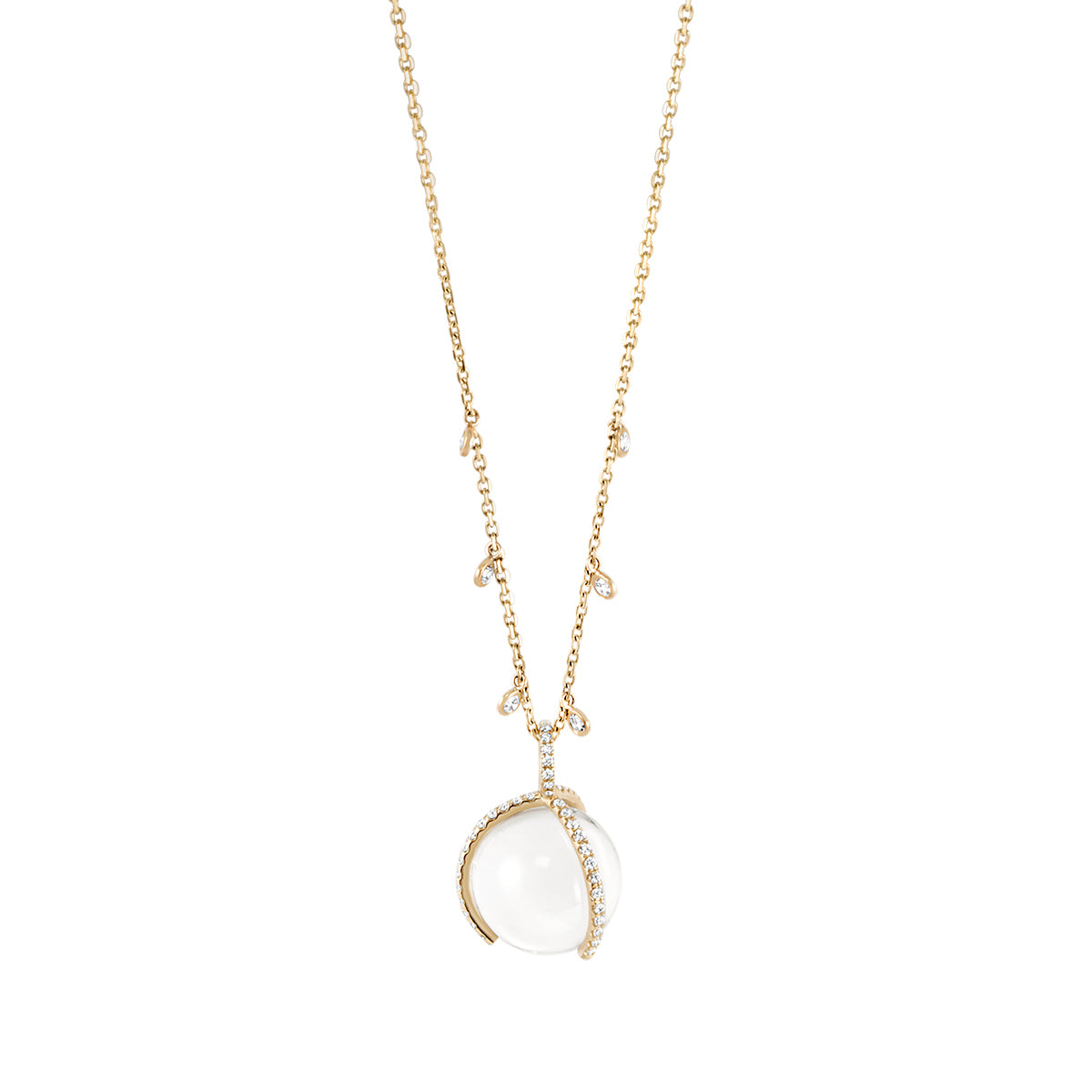 Atlas Long Necklace with Pave Prongs and Charms