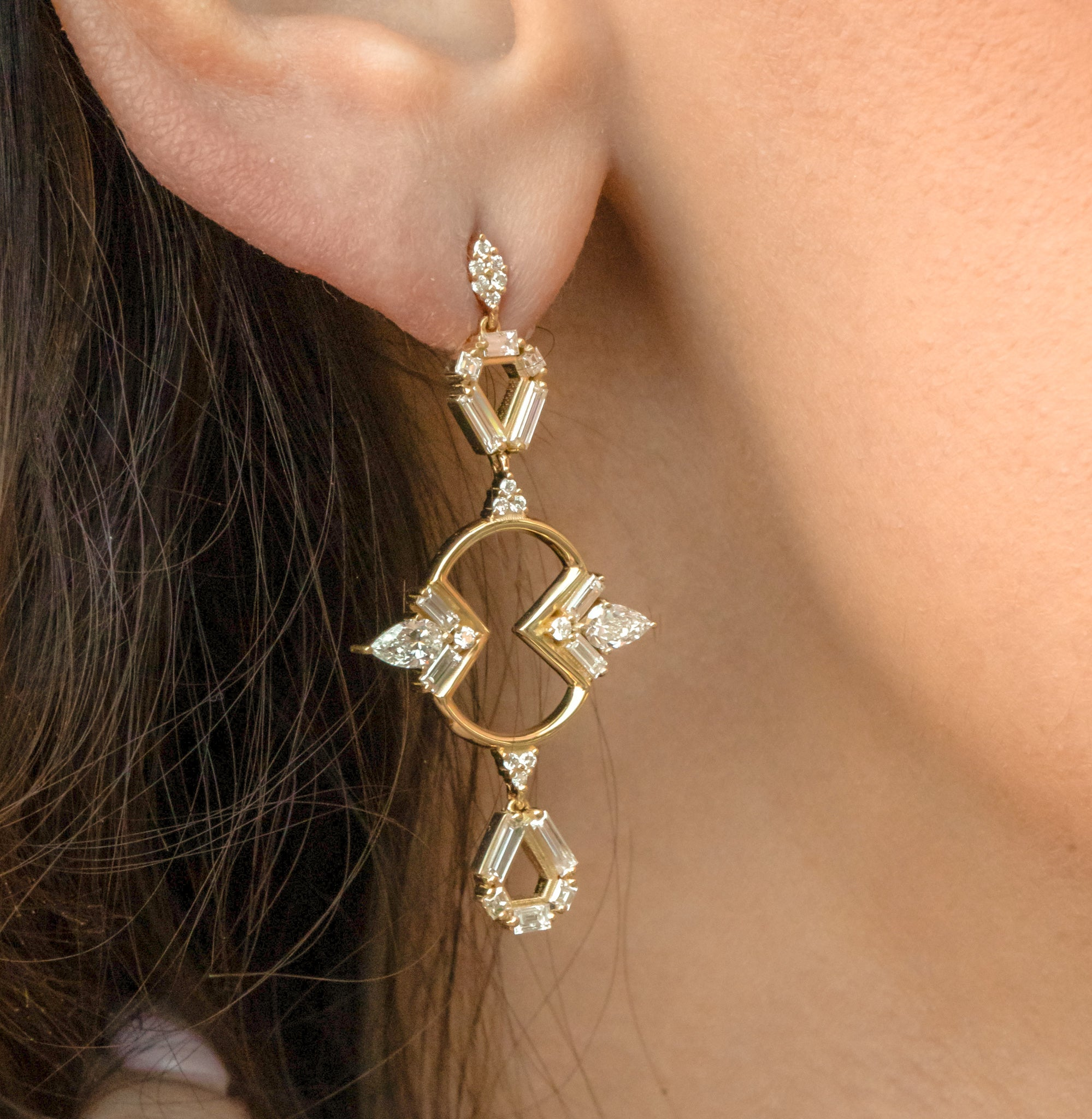 Mirrored Outline Shield Earrings