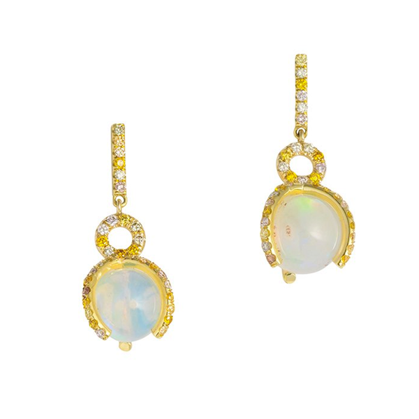 Atlas Opal Earrings with Pave