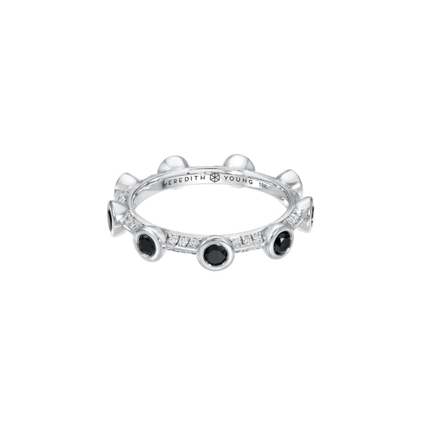 Black Diamond Bezel Ring with White Pave