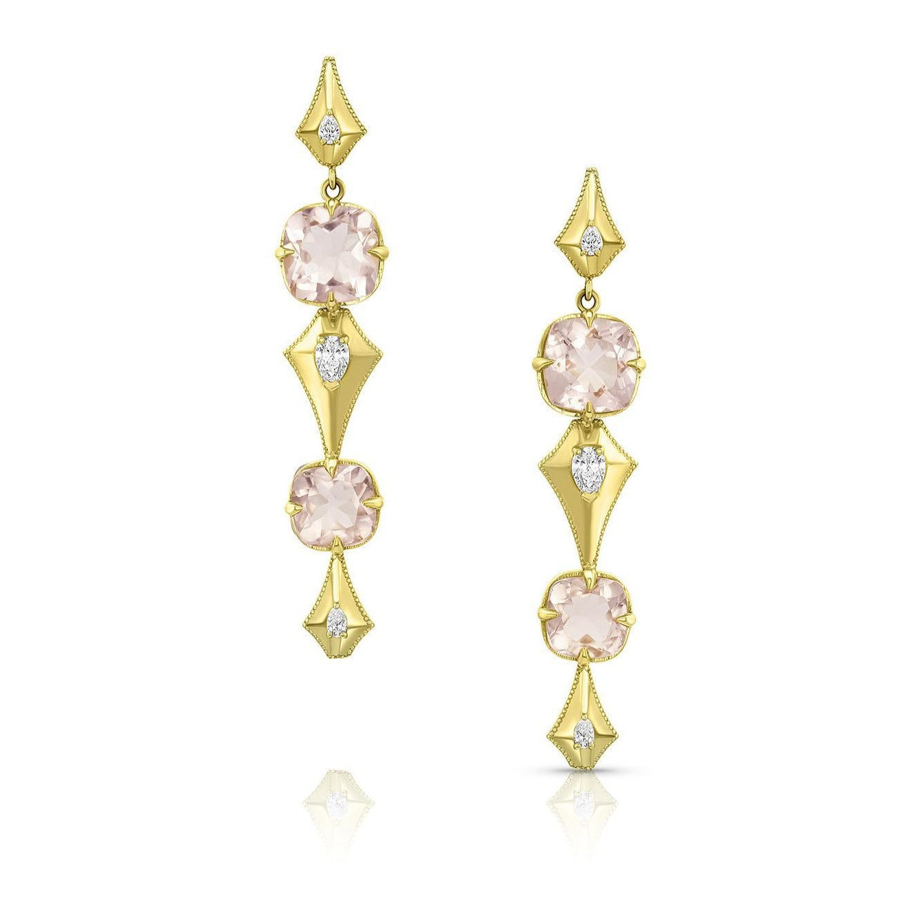 Long Pear Morganite Earrings