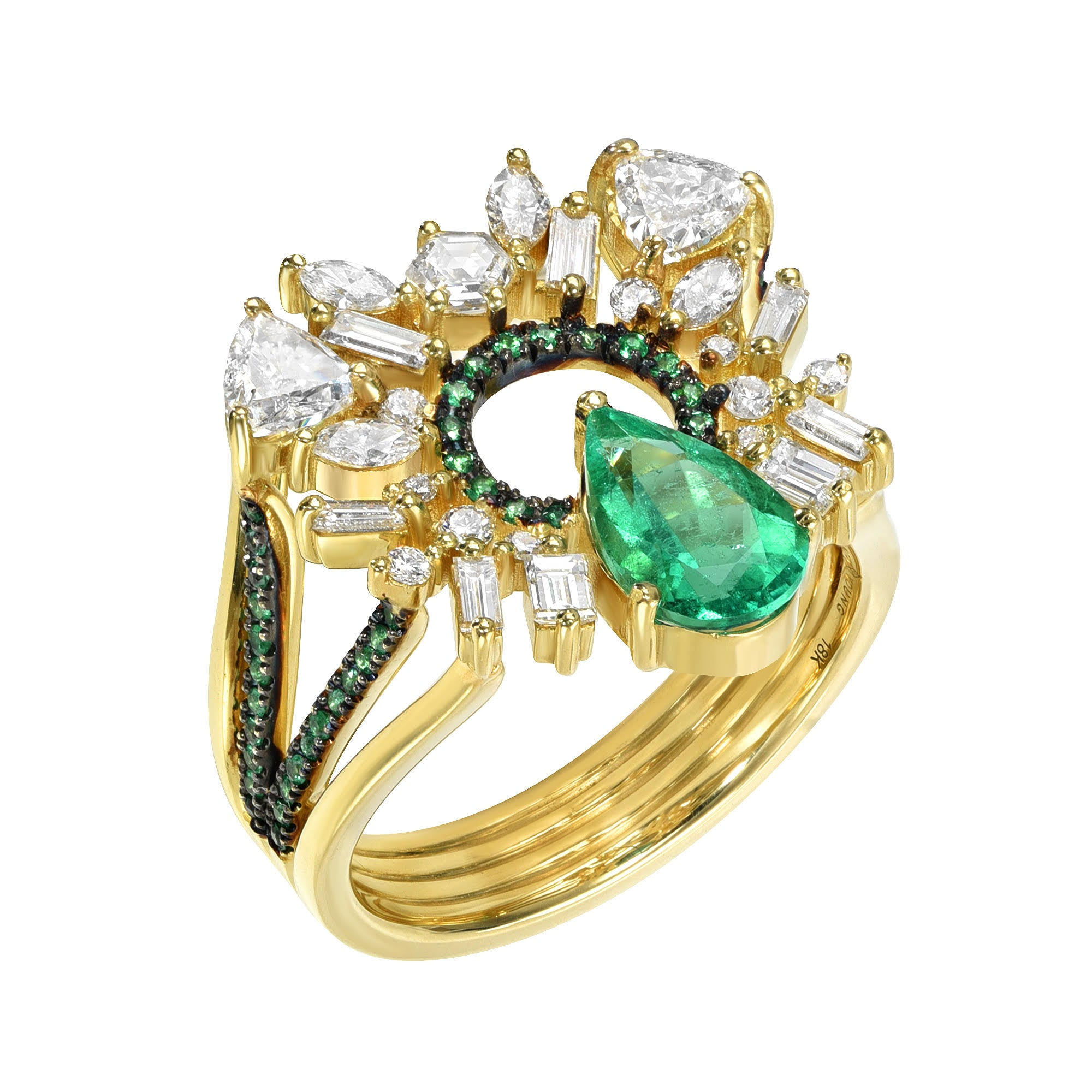 Emerald Pear Open Circle Ring