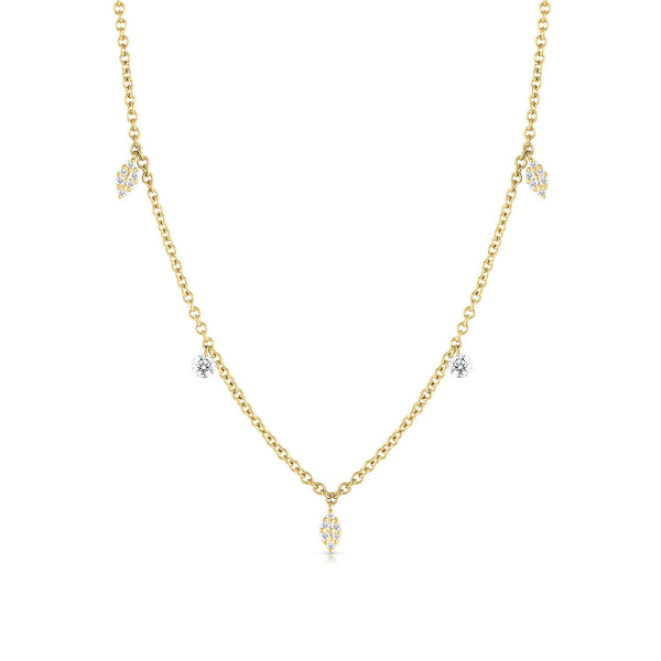 Floating Diamond Three Charm Necklace
