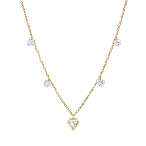 Floating Shield Diamond Necklace