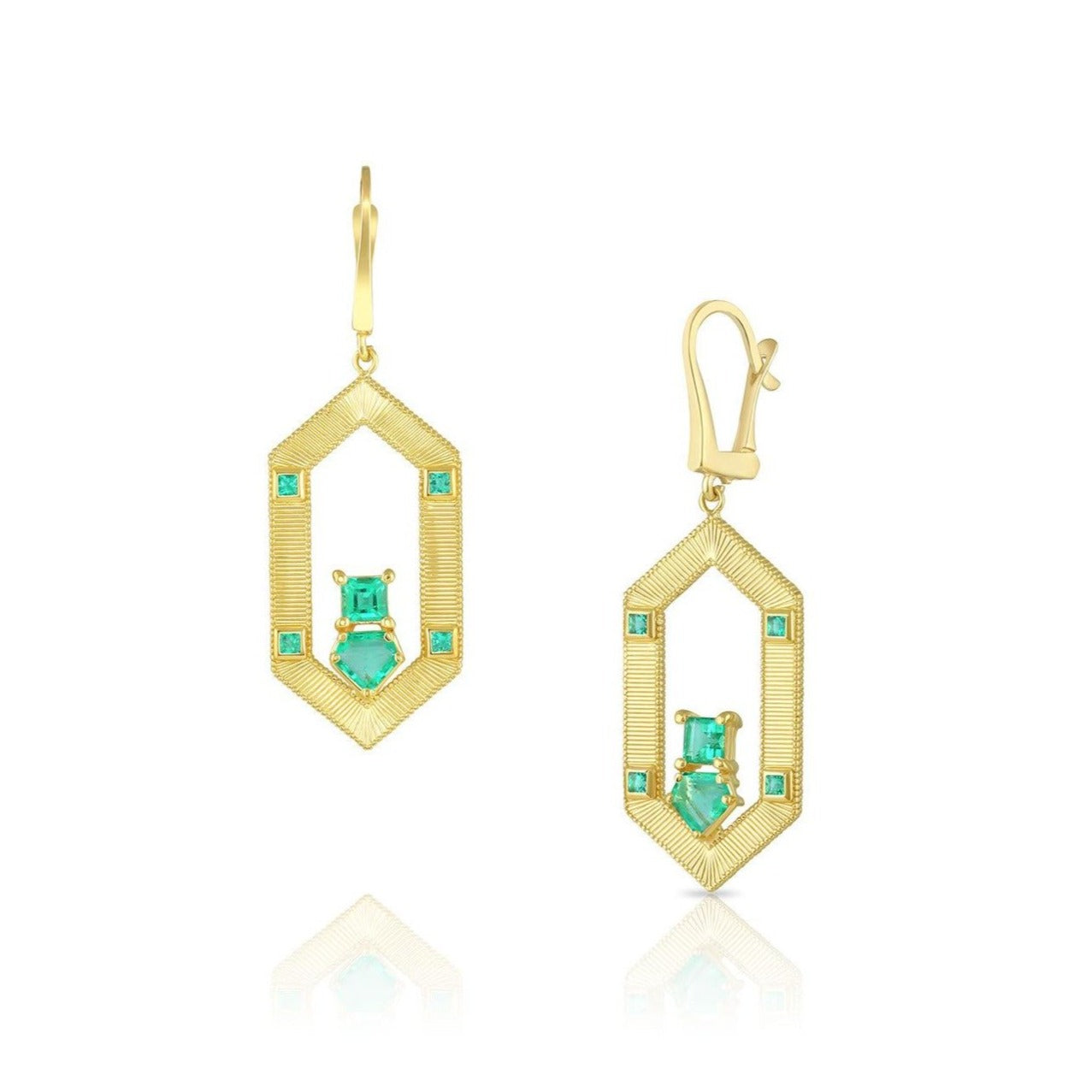 Hexagon Emerald Earrings