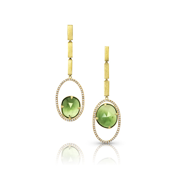 Open Oval Earrings with Tourmaline