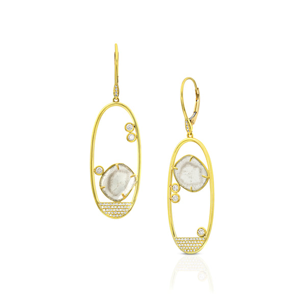 Open Oval Dangle Earrings with Floating Diamond Slices