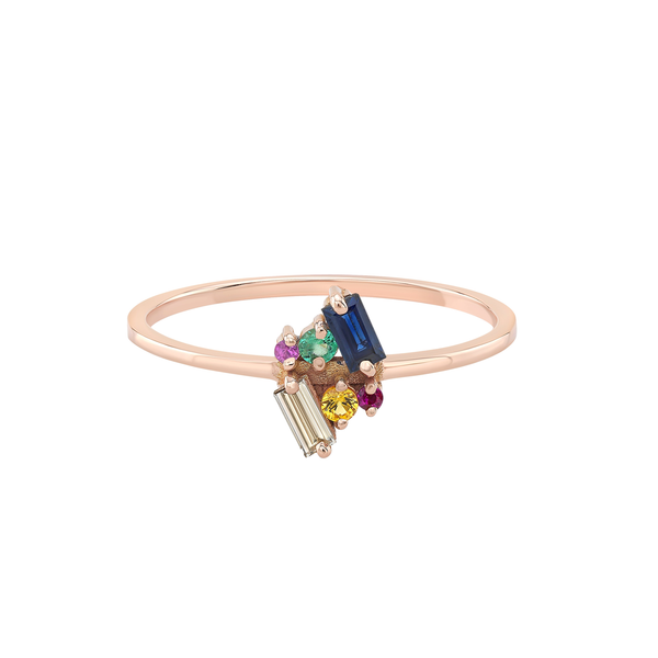 Mirrored Petite Ring in Colored Stones