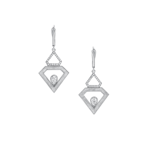 Pave Shield Pear Earrings