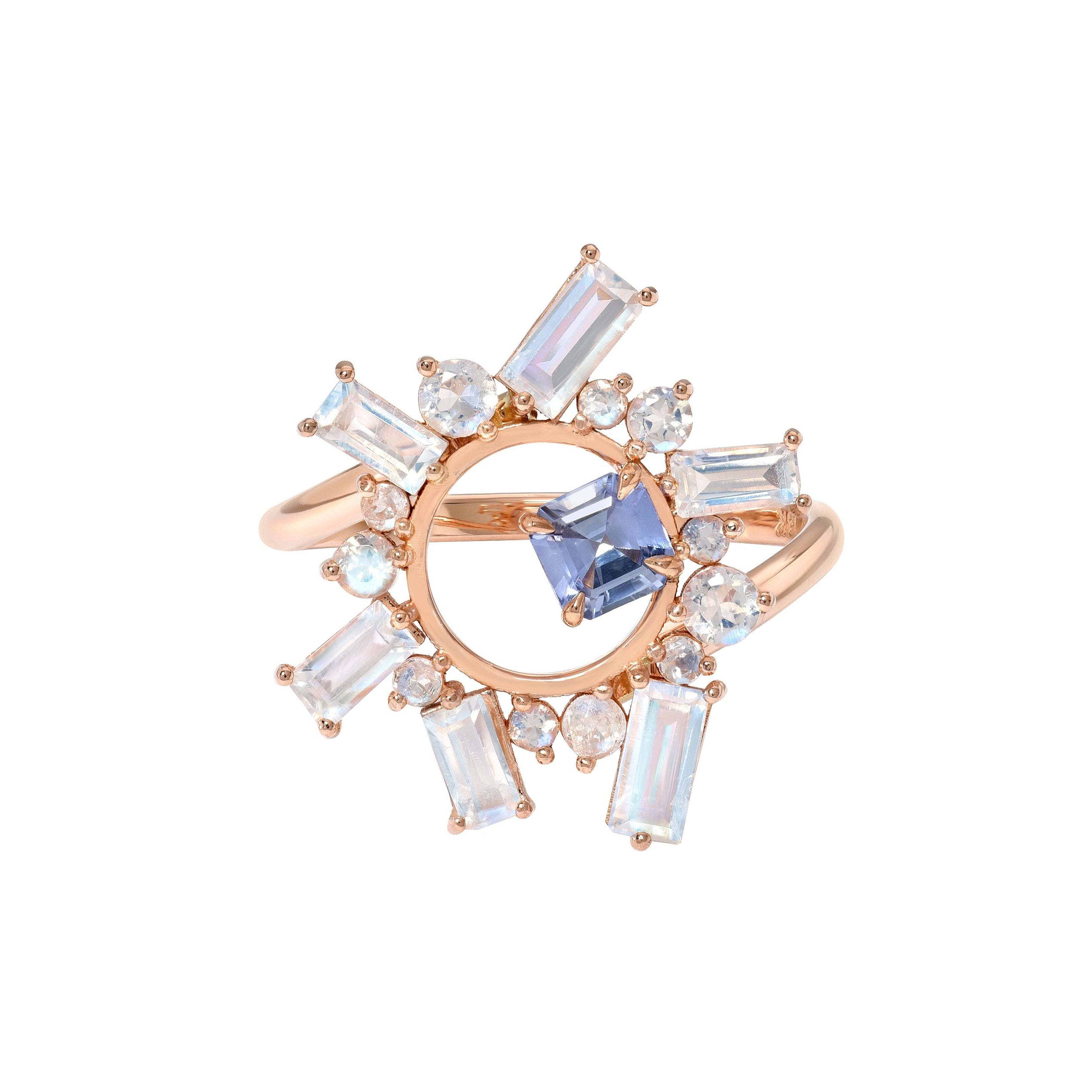 Open Circle Moonstone Ring