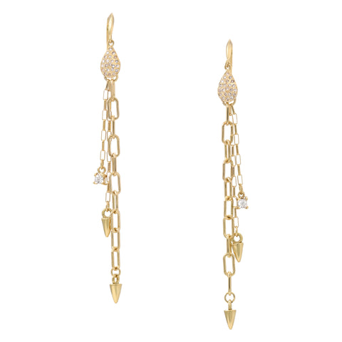 Pear Chain Nail Earrings