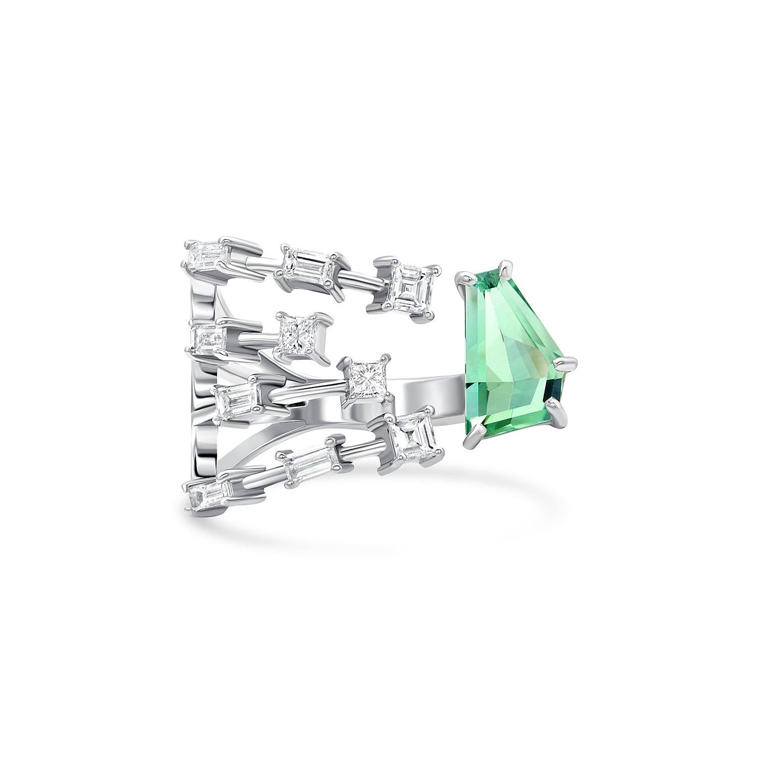 Seafoam Tourmaline Light Ray Ring
