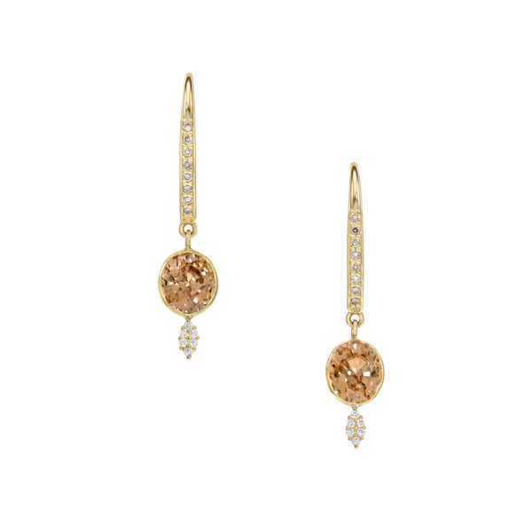Champagne Zircon Diamond Earrings