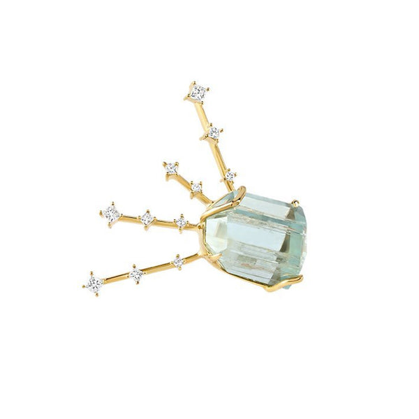 Aquamarine Light Ray Diamond Earring