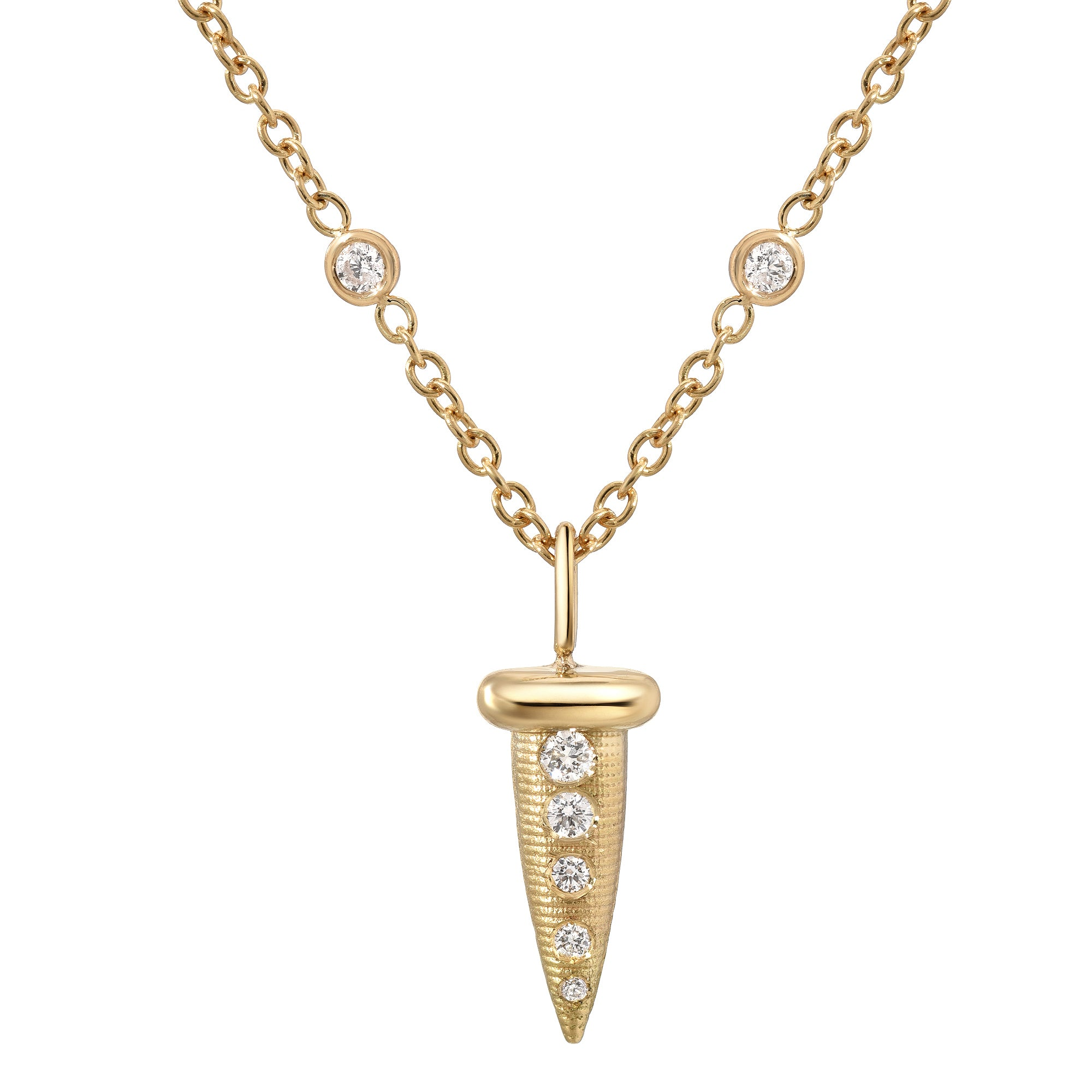 Bezeled Diamond Nail Necklace
