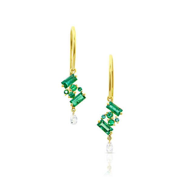 Emerald Threaders with Diamond Briolettes