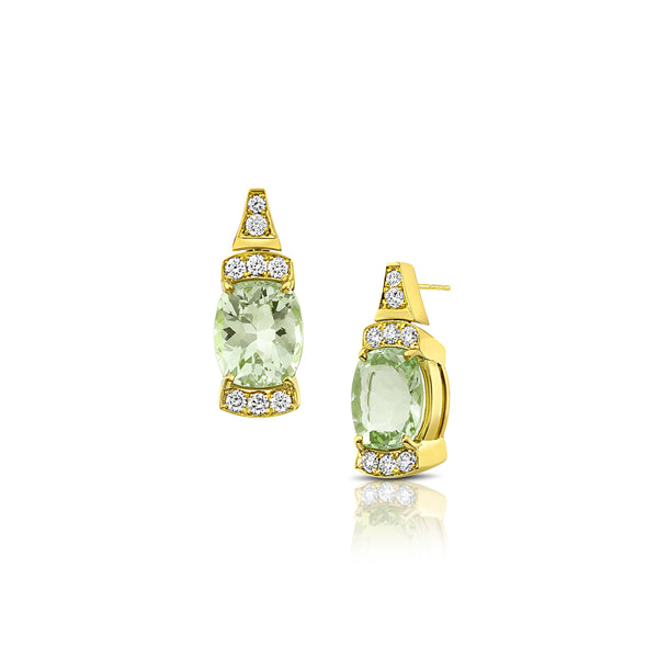 Gold Tourmaline Bar Earrings