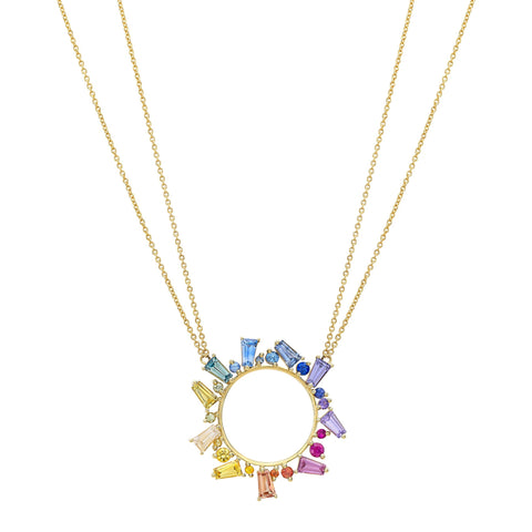 Open Circle Necklace in Rainbow Sapphires