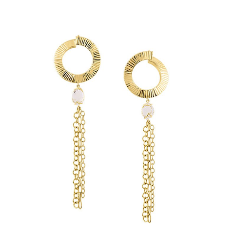 Midi Hoops with Herkimer Diamonds and Tassel