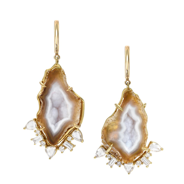Moonstone Geode Diamond Earrings