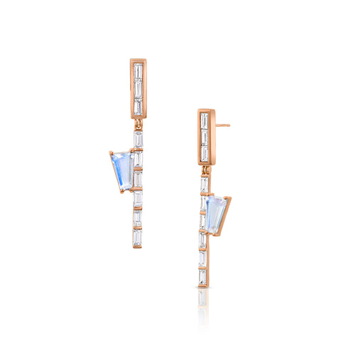 Moonstone Baguette Hinge Earrings