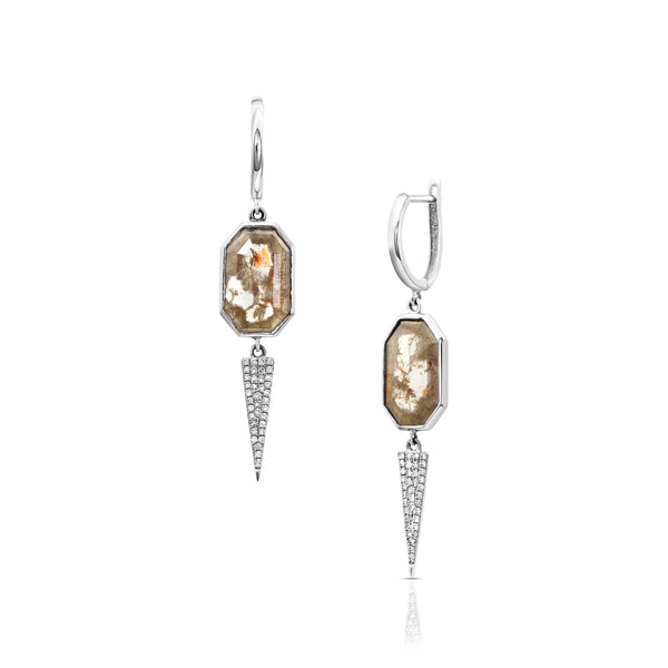 Nude Hexagon Diamond Earrings with Spears