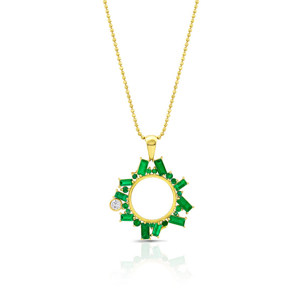 Open Circle Emerald Necklace