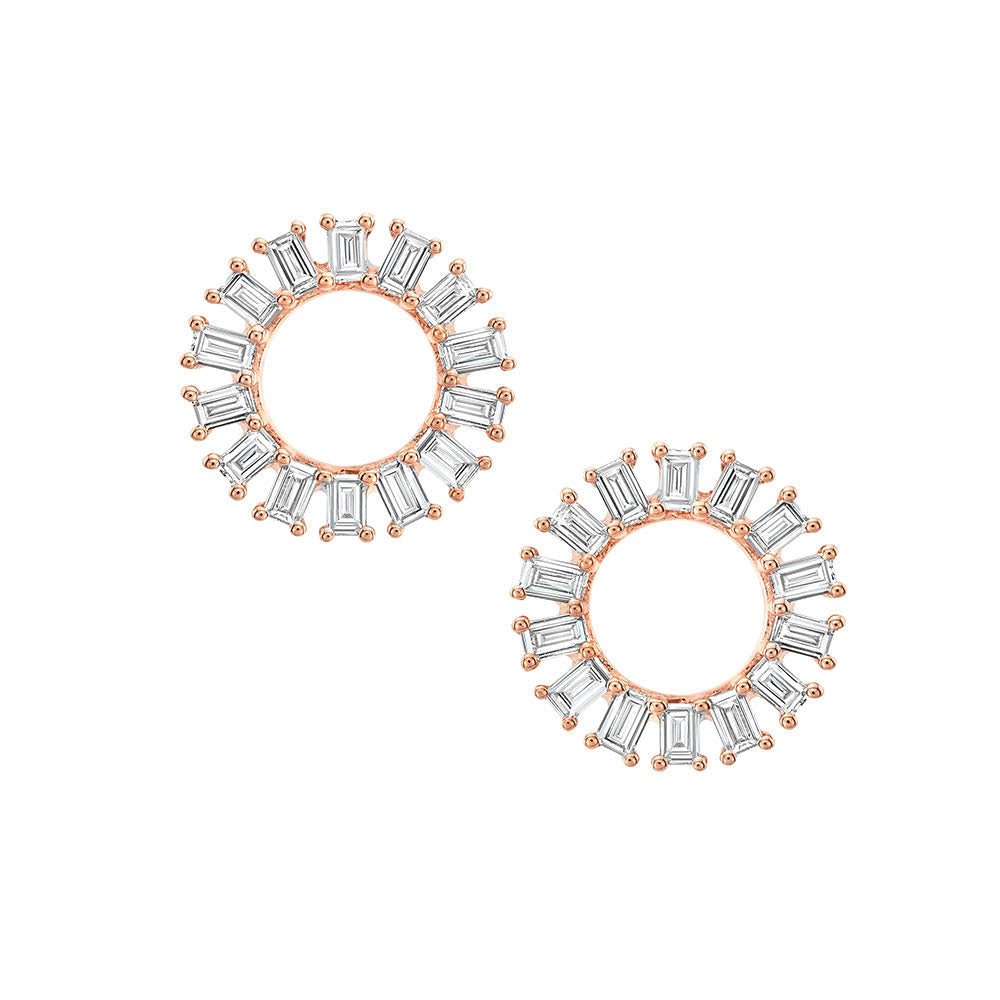 Open Baguette Circle Post Earrings