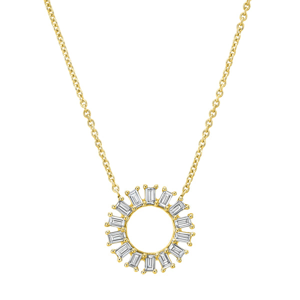 Open Baguette Circle Necklace