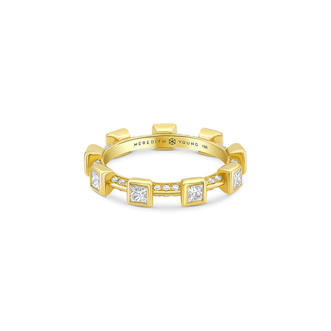 Princess Bezel Ring with Pave