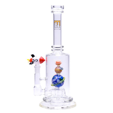 "11"" Straight Tube w/ UV Reactive Planets & Spaceship Perc by Empire Glassworks"