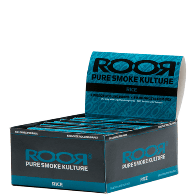 RooR King Size Rice Rolling Papers – 50 Booklets Box