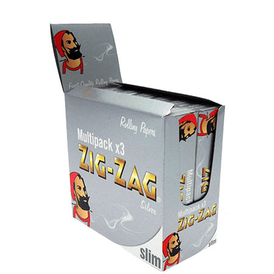 Zig Zag Silver KS Slim Cigarette Papers – 50 Pack Box