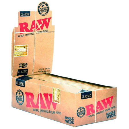 Raw Classic Single Wide Rolling Papers – 25 Pack Box