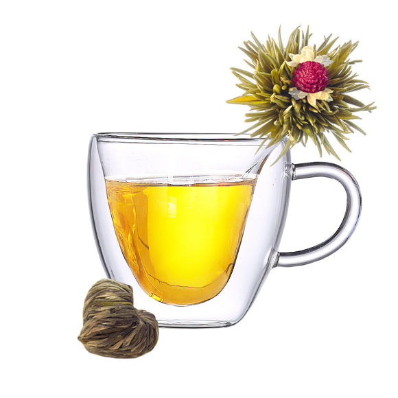 Double Wall Glass Cup with Tea Bloom