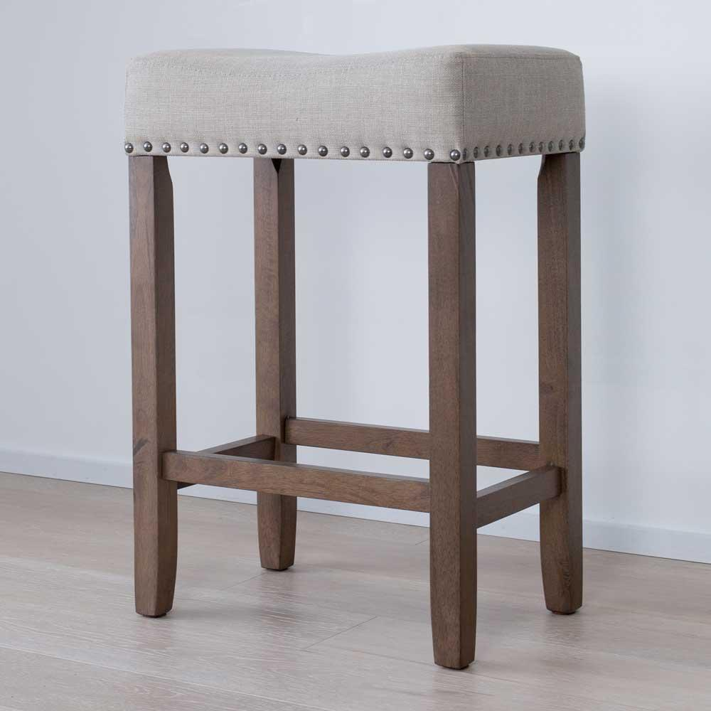 "Hylie Nailhead Wood Pub-Height Kitchen Counter Bar Stool 24"", Beige/Light Brown"