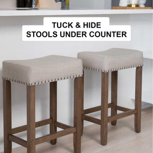 Awe Inspiring Hylie Nailhead Wood Pub Height Counter Bar Stool 24 Beige Fabric Cushion Light Brown Finish Ncnpc Chair Design For Home Ncnpcorg