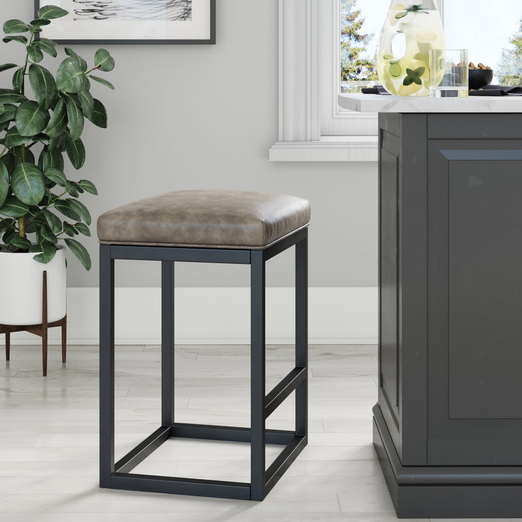 "Nelson 24""  Bar Stool, Brown Seat Black Finish"